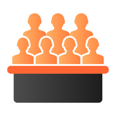 Jury box flat icon. Group color icons in trendy flat style. Audience gradient style design, designed for web and app. Eps 10.