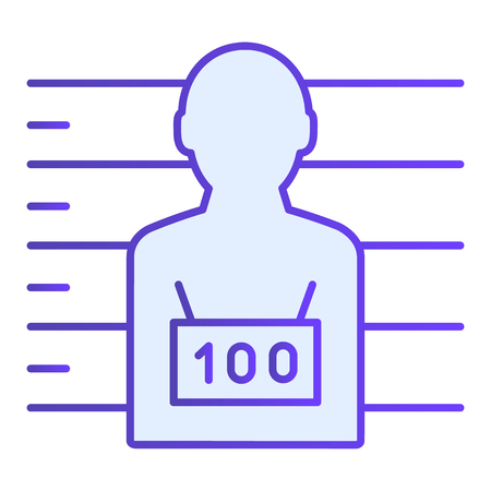 Photo of the criminal flat icon. Criminal with badge blue icons in trendy flat style. Prisoner gradient style design, designed for web and app. Eps 10.