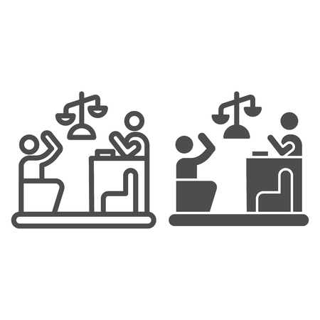 Judge and guilty line and glyph icon. Court vector illustration isolated on white. Trial outline style design, designed for web and app. Eps 10. Illusztráció