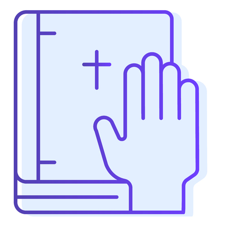 Oath on bible flat icon. Swearing on book blue icons in trendy flat style. Honest gradient style design, designed for web and app. Eps 10. Standard-Bild - 123931341