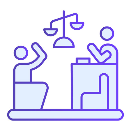 Judge and guilty flat icon. Court blue icons in trendy flat style. Trial gradient style design, designed for web and app. Eps 10.