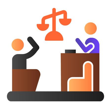 Judge and guilty flat icon. Court color icons in trendy flat style. Trial gradient style design, designed for web and app. Eps 10.