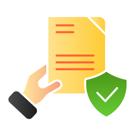 Document verified in hand flat icon. Checked agreement color icons in trendy flat style. Form with tick gradient style design, designed for web and app. Eps 10. Vectores