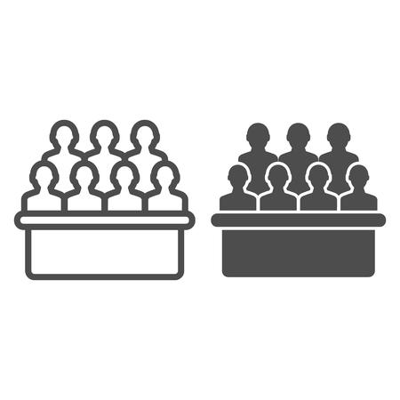 Jury box ligne et icône glyphe. Illustration vectorielle de groupe isolée sur blanc. Conception de style de contour d'audience, conçue pour le Web et l'application. Eps 10.