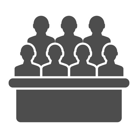 Jury box solid icon. Group vector illustration isolated on white. Audience glyph style design, designed for web and app. Eps 10.