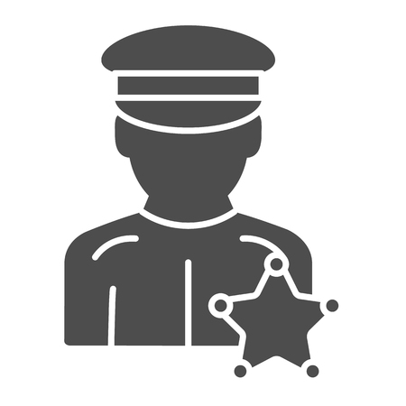 Police officer solid icon. Justice vector illustration isolated on white. Policeman glyph style design, designed for web and app. Eps 10. Vecteurs