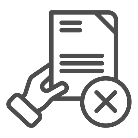 Document fail line icon. Quality control fail vector illustration isolated on white. Hand holding paper outline style design, designed for web and app. Eps 10. Illusztráció