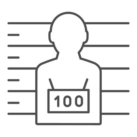Photo of the criminal thin line icon. Criminal with badge vector illustration isolated on white. Prisoner outline style design, designed for web and app. Eps 10. Ilustração