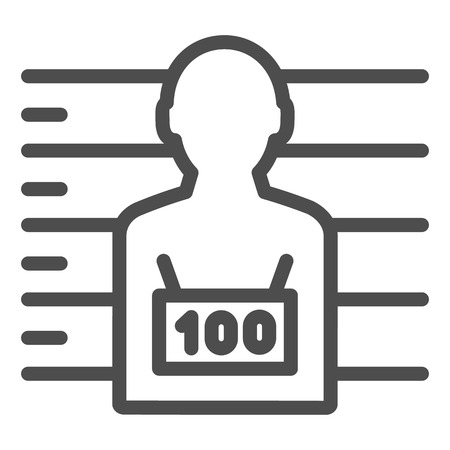 Photo of the criminal line icon. Criminal with badge vector illustration isolated on white. Prisoner outline style design, designed for web and app. Eps 10.