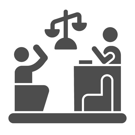 Judge and guilty solid icon. Court vector illustration isolated on white. Trial glyph style design, designed for web and app. Eps 10.