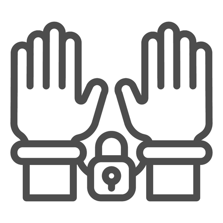 Handcuffs on hands line icon. Arrest vector illustration isolated on white. Criminal outline style design, designed for web and app. Eps 10.