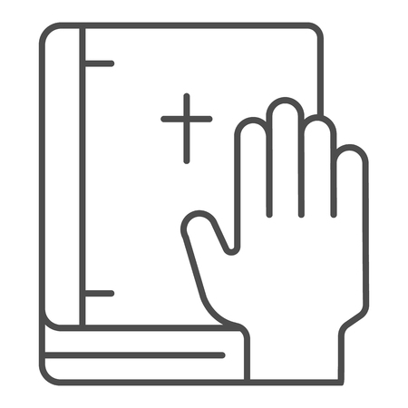Oath on bible thin line icon. Swearing on book vector illustration isolated on white. Honest outline style design, designed for web and app. Eps 10. Standard-Bild - 123934535
