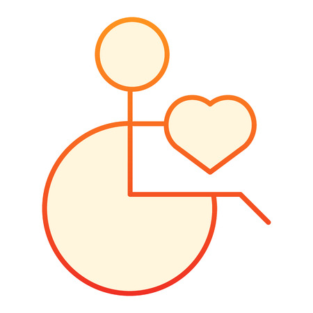Patient on disability carriage flat icon. Man on a wheelchair orange icons in trendy flat style. Disabled man gradient style design, designed for web and app. Eps 10. Illustration
