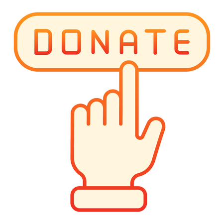 Online donation flat icon. Donate button orange icons in trendy flat style. Help gradient style design, designed for web and app. Eps 10. Çizim