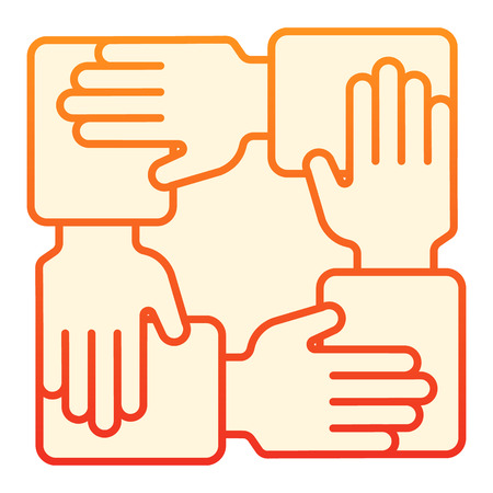 Collaboration flat icon. Hands community orange icons in trendy flat style. Teamwork gradient style design, designed for web and app. Eps 10. Illustration