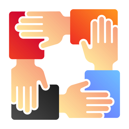 Collaboration flat icon. Hands community color icons in trendy flat style. Teamwork gradient style design, designed for web and app. Eps 10.
