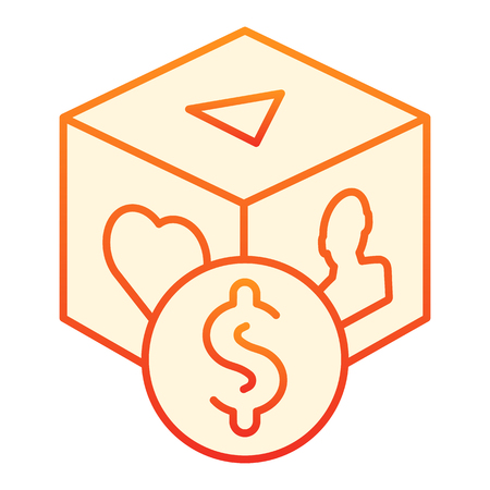 Pay per click flat icon. Paid content orange icons in trendy flat style. Monetized gradient style design, designed for web and app. Eps 10. Illustration