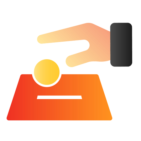 Hand putting coin in box flat icon. Donate color icons in trendy flat style. Charity concept gradient style design, designed for web and app. Eps 10.