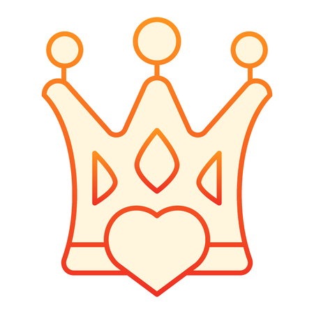 Crown with heart flat icon. Love queen orange icons in trendy flat style. Status gradient style design, designed for web and app. Eps 10. Stock Illustratie