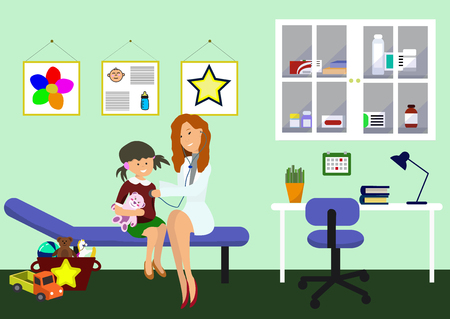 Examination by Pediatrician. Pediatric Department in Hospital with Woman Doctor and girl during Examination. Doctor and child. Childand Pediatrician. Vector Illustration in Flat style.