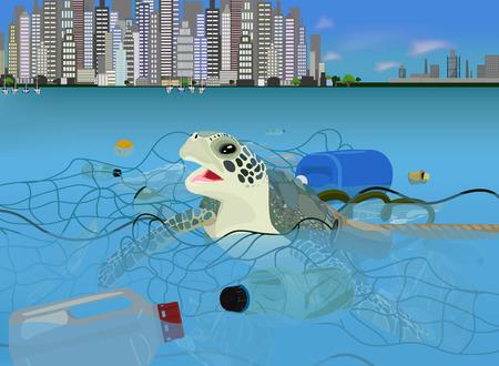 Schildpad in de oceaan met prullenbak vector pictogram op een blauwe achtergrond. Milieuvervuiling illustratie op blauw. Garbage in the sea realistisch stijlontwerp, ontworpen voor web en app. Eps 10.