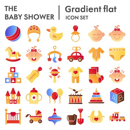 Baby flat icon set, child symbols collection, vector sketches, logo illustrations, childhood signs color gradient pictograms package isolated on white background, eps 10. Illustration