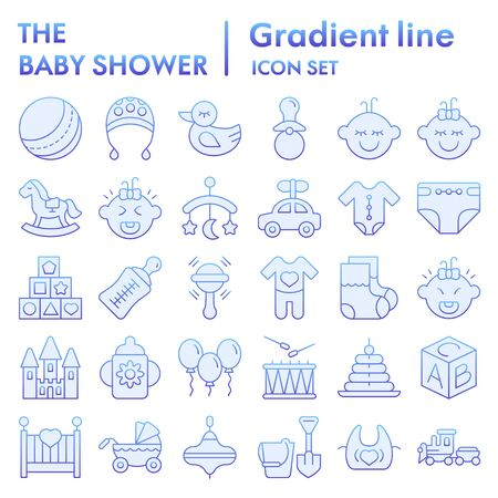 Baby flat icon set, child symbols collection, vector sketches, logo illustrations, childhood signs blue gradient pictograms package isolated on white background, eps 10. Illustration