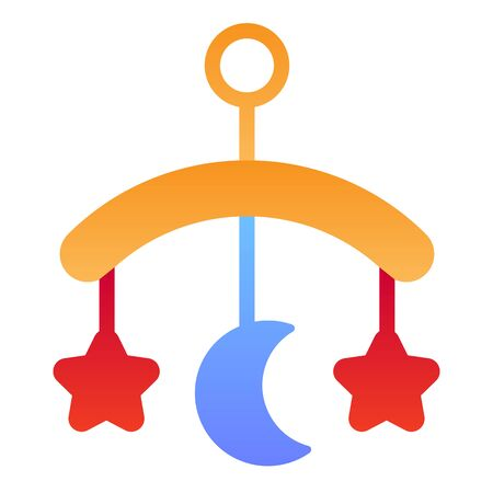 Baby crib toy flat icon. Hanging toy color icons in trendy flat style. Kids crib gradient style design, designed for web and app. Eps 10.