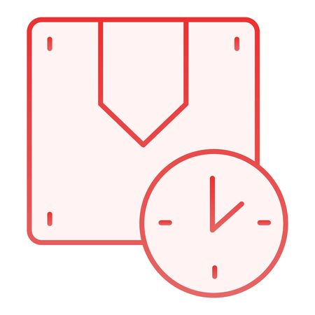 Fast delivery flat icon. Timely delivery red icons in trendy flat style. Box and clock gradient style design, designed for web and app. Eps 10.