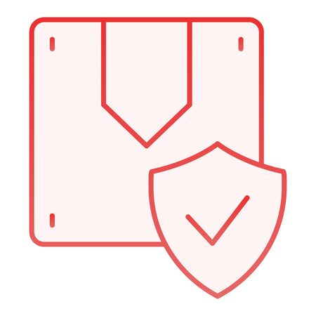 Approved parcel flat icon. Box and check red icons in trendy flat style. Cargo safety gradient style design, designed for web and app. Eps 10. Illustration