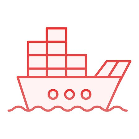 Ship with cargo flat icon. Boat with containers red icons in trendy flat style. Tanker gradient style design, designed for web and app. Eps 10.
