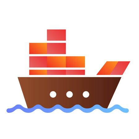 Ship with cargo flat icon. Boat with containers color icons in trendy flat style. Tanker gradient style design, designed for web and app. Eps 10.