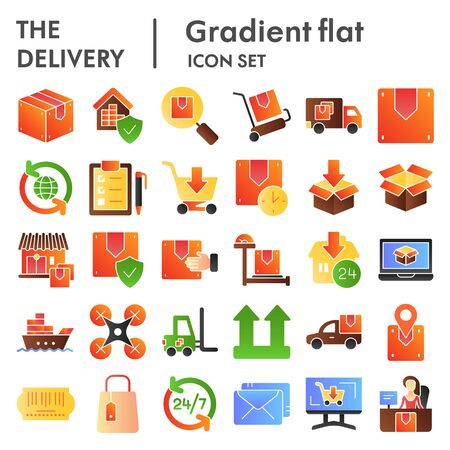 Delivery flat icon set, shipping symbols collection, vector sketches, logo illustrations, logistics signs color gradient pictograms package isolated on white background, eps 10.