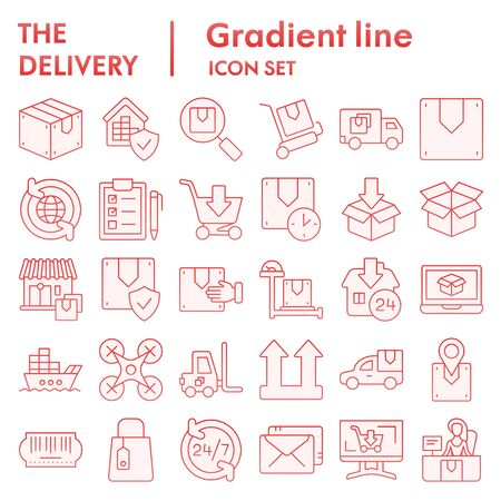 Delivery flat icon set, shipping symbols collection, vector sketches, logo illustrations, logistics signs red gradient pictograms package isolated on white background, eps 10.