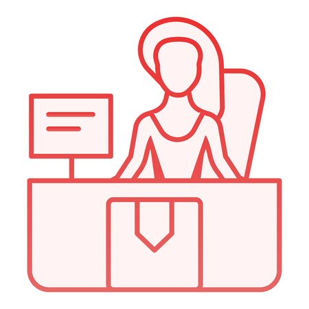 Delivery specialist flat icon. Delivery service color icons in trendy flat style. Assistant red gradient style design, designed for web and app. Eps 10.