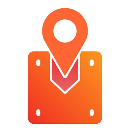 Package location flat icon. Cargo location color icons in trendy flat style. Map pin with box gradient style design, designed for web and app. Eps 10. Illustration