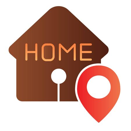 Home location flat icon. House with map pin color icons in trendy flat style. Navigation gradient style design, designed for web and app. Eps 10. Stock Vector - 124705405