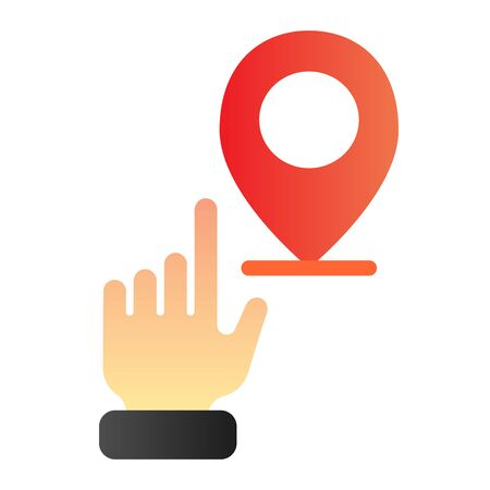 Hand pointing location flat icon. Hand with map pin color icons in trendy flat style. Navigation gradient style design, designed for web and app. Eps 10.