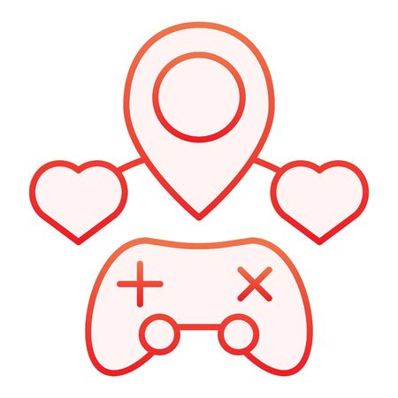 Video games location flat icon. Game map red icons in trendy flat style. Joystick and navigation gradient style design, designed for web and app. Eps 10.