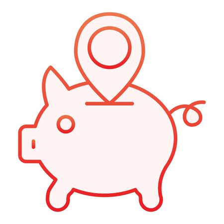 Piggy bank location flat icon. Money box with map pin red icons in trendy flat style. Savings gradient style design, designed for web and app. Eps 10.
