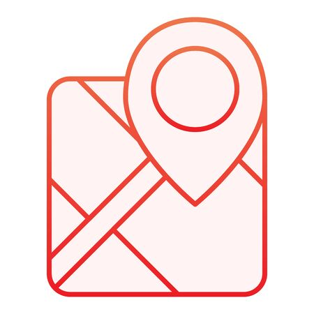 Gps flat icon. Map with pin red icons in trendy flat style. Marker locate gradient style design, designed for web and app. Eps 10.