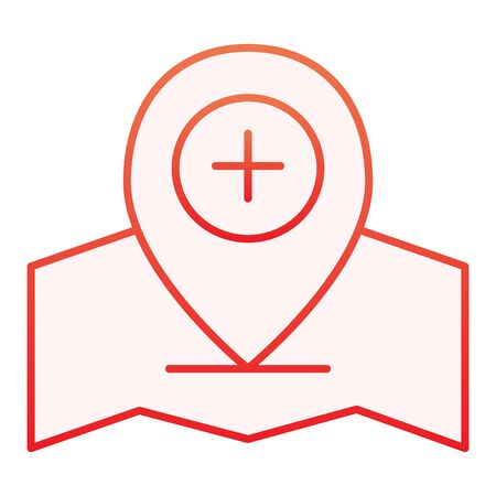 Add location pin flat icon. Gps pin red icons in trendy flat style. Map pointer and plus gradient style design, designed for web and app. Eps 10.