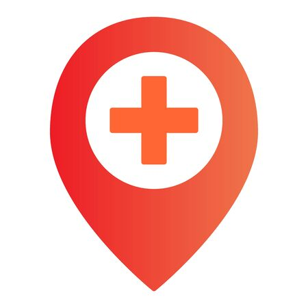 Add location flat icon. Map pin and plus color icons in trendy flat style. Direction gradient style design, designed for web and app. Eps 10.