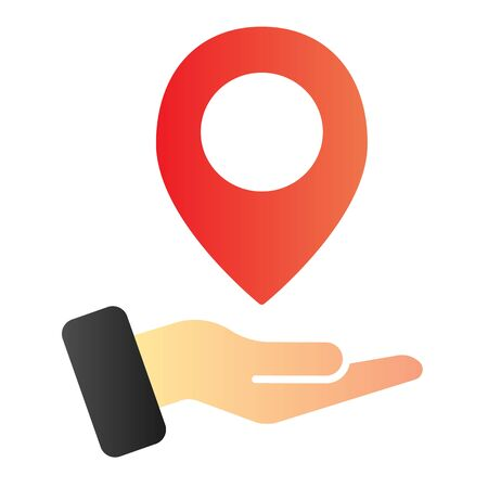 Hand holding map pin flat icon. Map pointer in arm color icons in trendy flat style. Direction gradient style design, designed for web and app. Eps 10. Stock Vector - 124705838