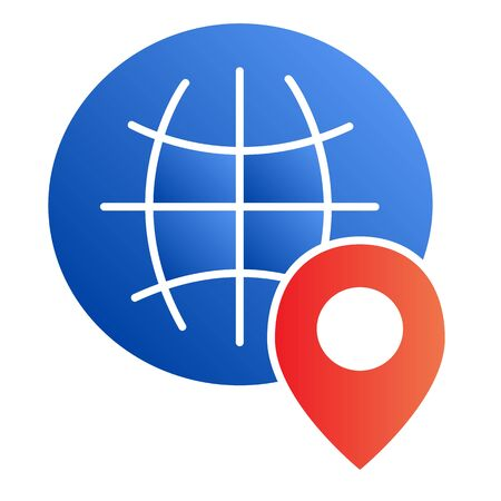 Globe location flat icon. World map with location pin color icons in trendy flat style. Planet navigation gradient style design, designed for web and app. Eps 10.