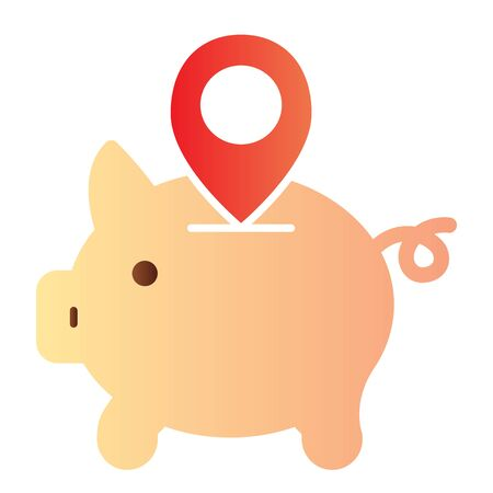 Piggy bank location flat icon. Money box with map pin color icons in trendy flat style. Savings gradient style design, designed for web and app. Eps 10. Stock Vector - 124705844
