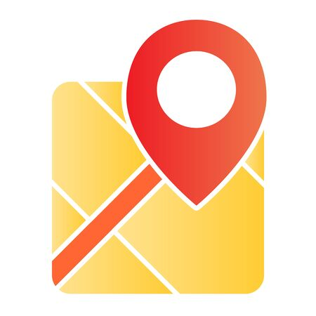 Gps flat icon. Map with pin color icons in trendy flat style. Marker locate gradient style design, designed for web and app. Eps 10.