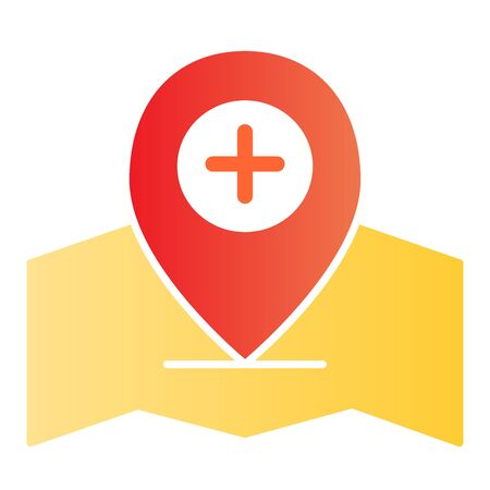 Add location pin flat icon. Gps pin color icons in trendy flat style. Map pointer and plus gradient style design, designed for web and app. Eps 10.