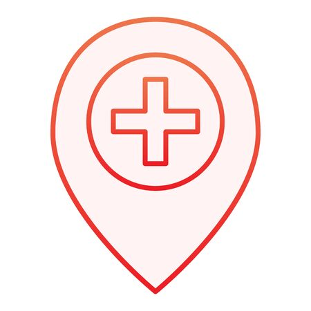 Add location flat icon. Map pin and plus red icons in trendy flat style. Direction gradient style design, designed for web and app. Eps 10. Illustration