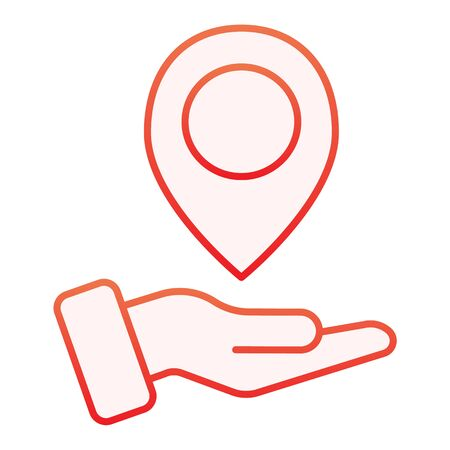 Hand holding map pin flat icon. Map pointer in arm red icons in trendy flat style. Direction gradient style design, designed for web and app. Eps 10. Stock Vector - 124705893